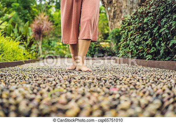 石, 歩くこと, 女, 舗装, reflexology., 玉石, reflexology, 舗装, textured, フィート, 小石 - csp65751010