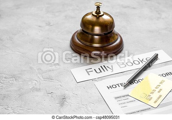石, 背景, 形態, ホテルの受信, 机, 予約 - csp48095031