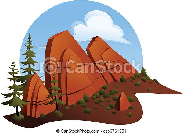 砂岩, outcropping, 赤 - csp6761351