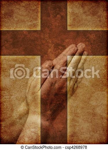 祈ること, キリスト教徒, 交差点, 手 - csp4268978