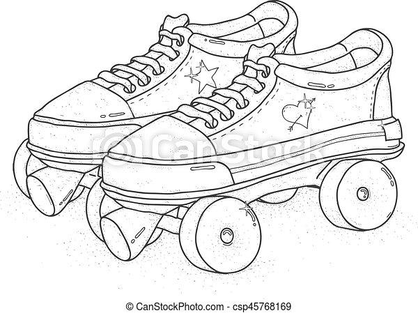 穴にひもを通された, illustration., カラフルである, ブーツ, バックグラウンド。, ベクトル, レトロ, スケート, クォード, 白, ローラー - csp45768169