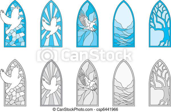 窓, ガラス, 汚された - csp6441966