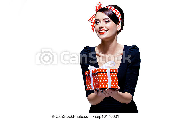 箱, ブルネット, 贈り物, 素晴らしい - csp10170001