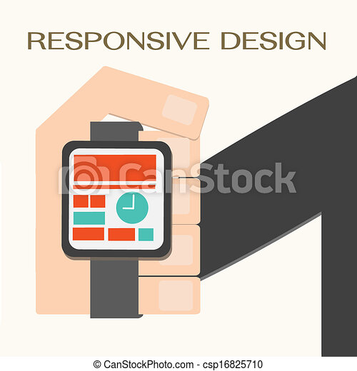 網, リストウォッチ, 敏感, 手, デザイン - csp16825710