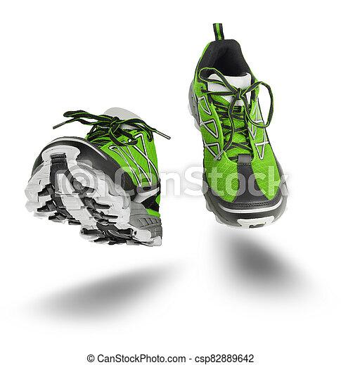 緑, 靴, スポーツ, 隔離された, 動くこと, 白 - csp82889642