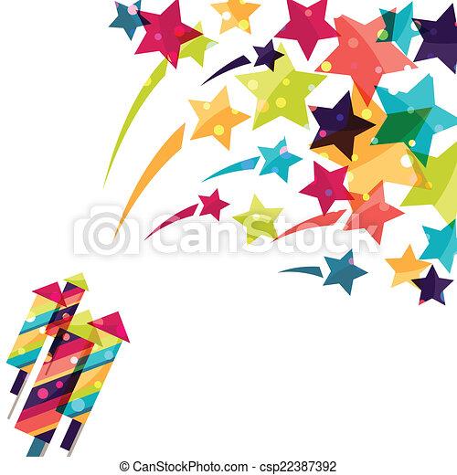背景, カラフルである, firework., 休日, 光沢がある, 有色人種 - csp22387392
