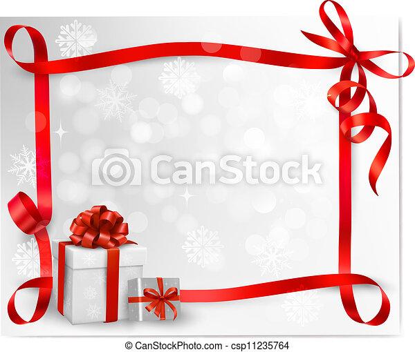 背景, 休日, 贈り物, boxes., ベクトル, 弓, 赤, illustration. - csp11235764
