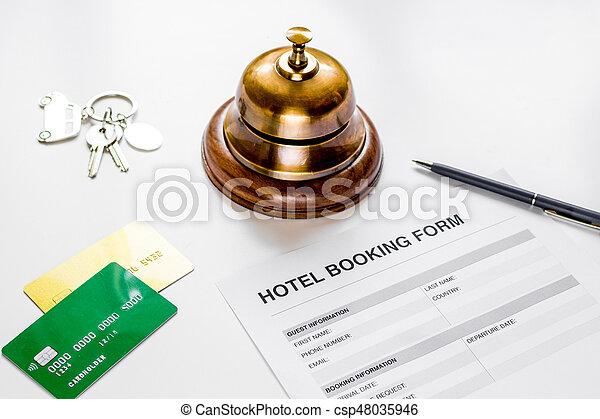背景, 形態, ホテルの受信, 机, 白, 予約 - csp48035946