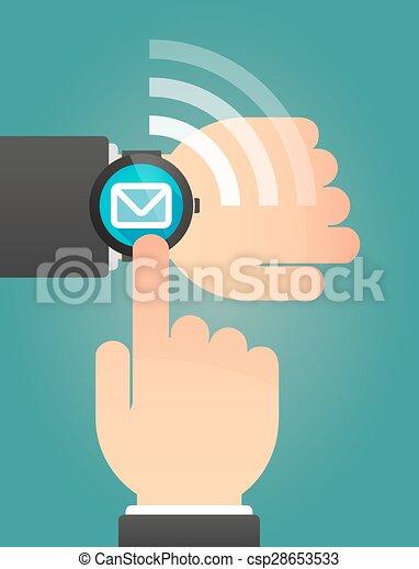 腕時計, 封筒, 痛みなさい, 指すこと, 手 - csp28653533