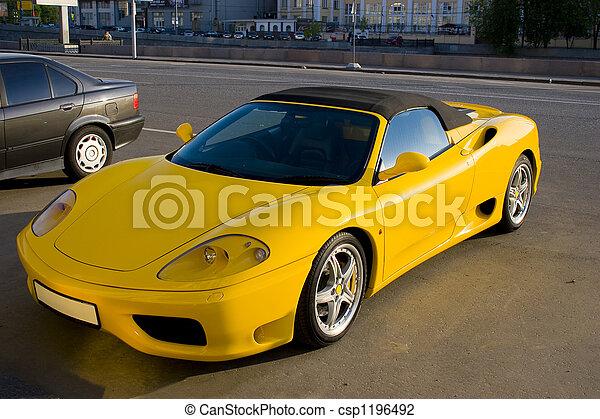 自動車, スポーツ, 黄色 - csp1196492