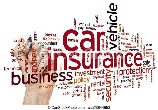 自動車, 単語, 保険, 雲 - csp28644653
