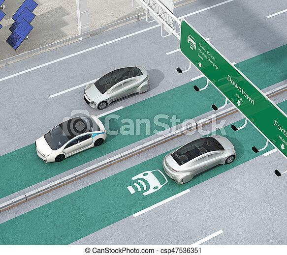 自動車, 運転, 電気である, 無線, 充満, 車線, ハイウェー - csp47536351