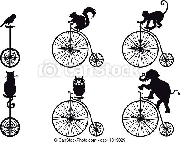 自転車, ベクトル, 動物, レトロ - csp11043029