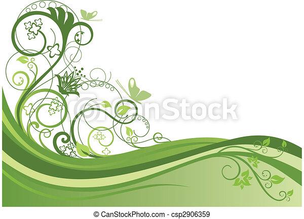 花の意匠, 1, ボーダー, 緑 - csp2906359