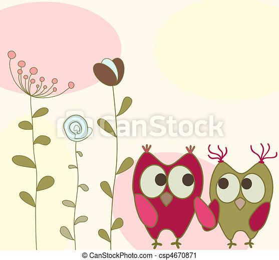 花, フクロウ, グリーティングカード - csp4670871