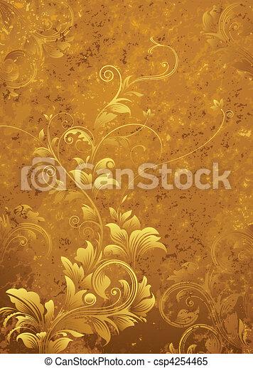 花, レトロ, 背景 - csp4254465