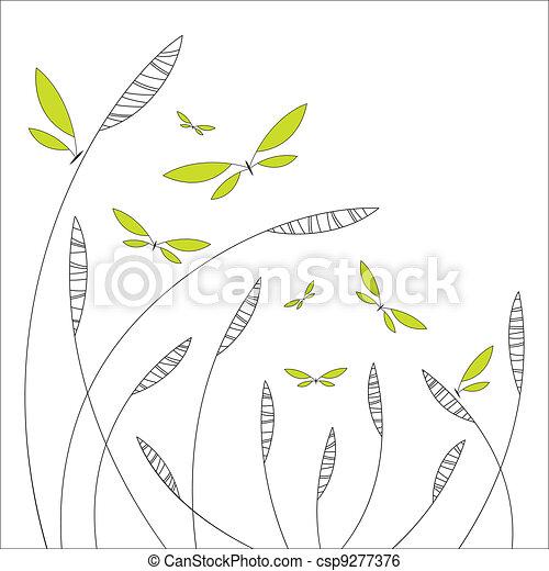 花, 抽象的なデザイン, 蝶 - csp9277376