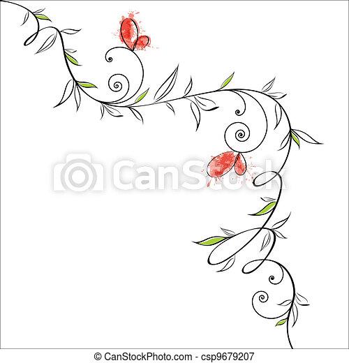 花, 蝶, デザイン - csp9679207