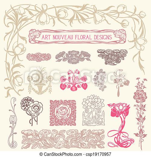 花, ornaments., セット, 型 - csp19170957