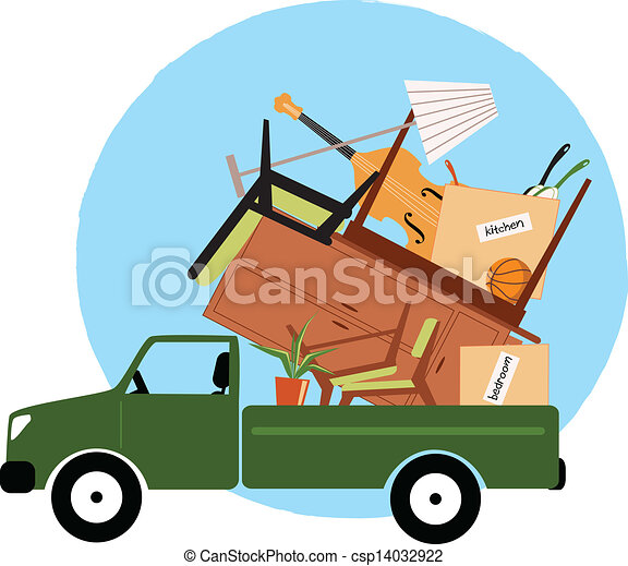 荷を積まれる, ピックアップ トラック, 家具 - csp14032922