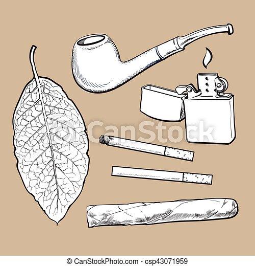 葉巻き, スケッチ, 葉, タバコ, スタイル, タバコ, パイプ, より軽い ...