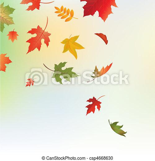 葉, 背景, 秋 - csp4668630
