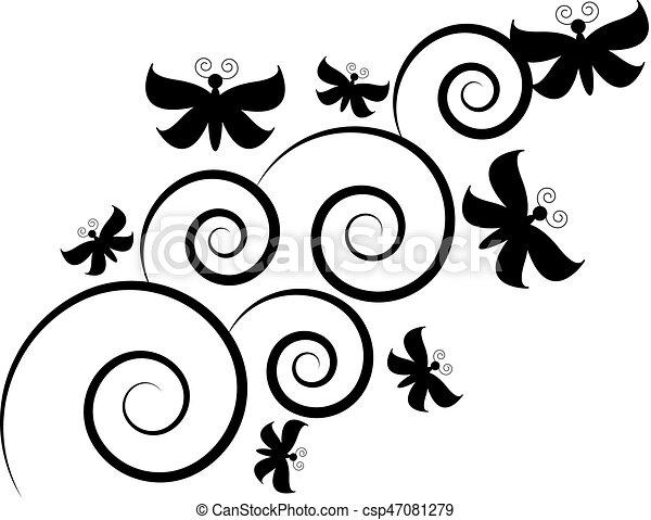 蝶, 白, 隔離された, 背景 - csp47081279