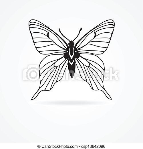 蝶, 白, 隔離された, 背景 - csp13642096