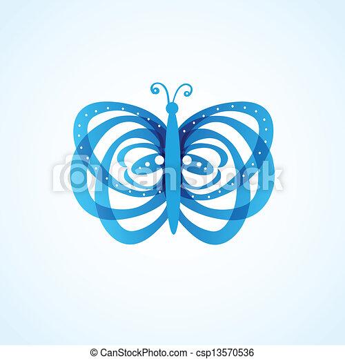 蝶, 白, 隔離された, 背景 - csp13570536
