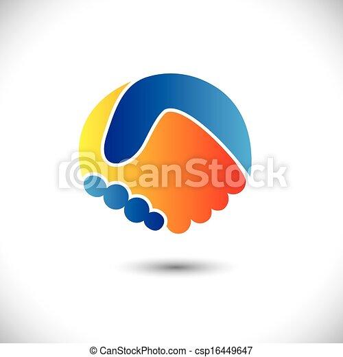 表しなさい, 概念, 人々, shake., 協力, &, -, ジェスチャー, また, 統一, 新しい, 友情, ビジネス 実例, 手, 友人, アイコン, グラフィック, これ, 挨拶, 信頼, ∥など∥, ベクトル, 缶, ∥あるいは∥ - csp16449647