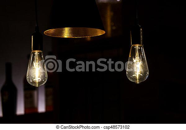 装飾用である, 骨董品, 電球, ライト, 現代, ランプ, レストラン - csp48573102