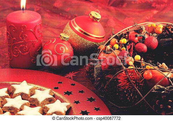 装飾, 伝統的である, クッキー, クリスマス - csp40087772