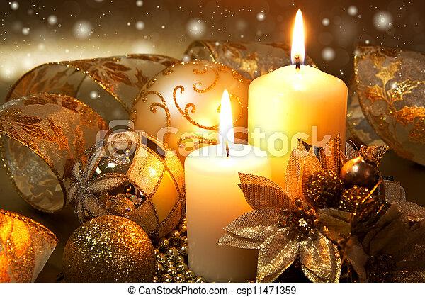 装飾, 蝋燭, 上に, 暗い背景, クリスマス - csp11471359