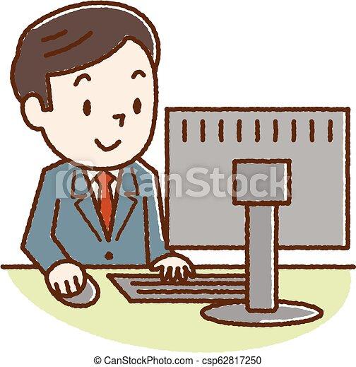 見る, スクリーン, コンピュータ, 人 - csp62817250
