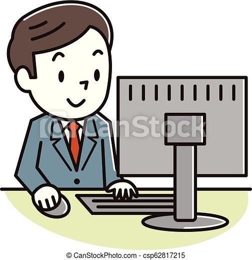 見る, スクリーン, コンピュータ, 人 - csp62817215