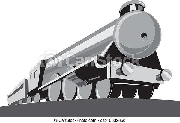 角度, 機関車, 列車, レトロ, 蒸気, 低い - csp10832868