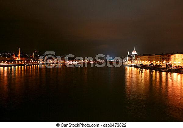 議会, ブダペスト, サイド光景 - csp0473822
