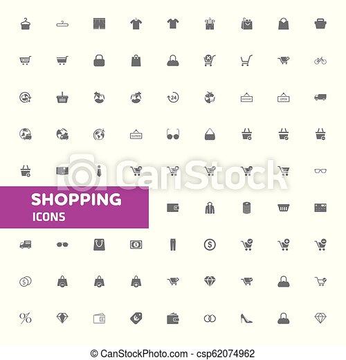 買い物, ベクトル, セット, アイコン - csp62074962