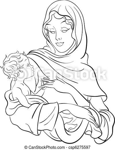 赤ん坊, 新しい, 把握, mary, イエス・キリスト - csp6275597