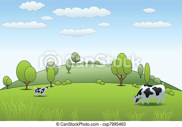 農場, 牛 - csp7995463