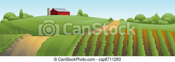 農場, 風景, イラスト - csp8711283