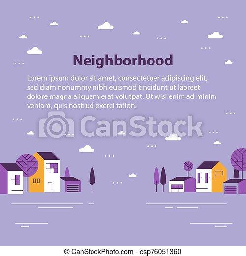近所, 住宅の, 美しい, 小さい, ごく小さい, 軒続き家屋, 町, 村, 光景 - csp76051360