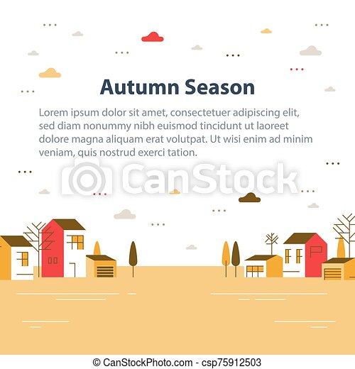 近所, 町, 美しい, 光景, 小さい, 村, 住宅の, 季節, 秋, ごく小さい, 家, 横列 - csp75912503