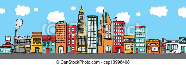 都市 スカイライン, カラフルである - csp13998408