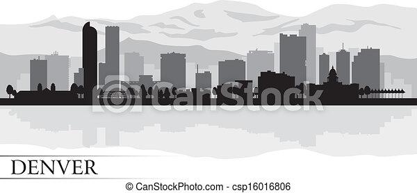都市 スカイライン, シルエット, デンバー, 背景 - csp16016806