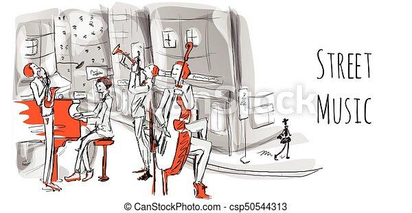 都市, スケッチ, プレーする, musicians., ジャズ, 通り, イラスト, style., バンド, ベクトル, 通り。, ミュージカル, 四つ組 - csp50544313