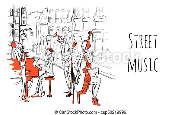 都市, スケッチ, プレーする, musicians., ジャズ, 通り, イラスト, style., バンド, ベクトル, 通り。, ミュージカル, 四つ組 - csp50219996