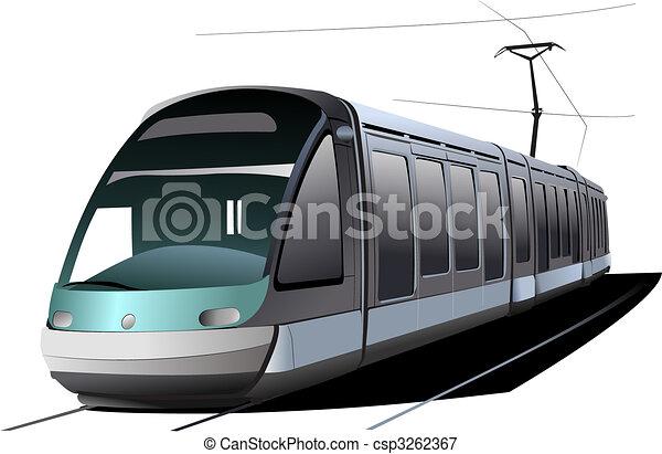 都市, ベクトル, transport., イラスト, tram. - csp3262367