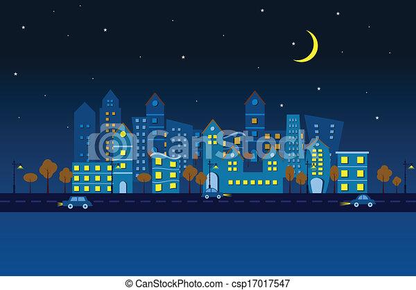 都市, ペーパー, 夜, 光景 - csp17017547