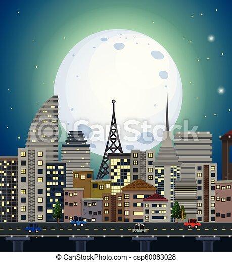 都市, 光景, 夜 - csp60083028